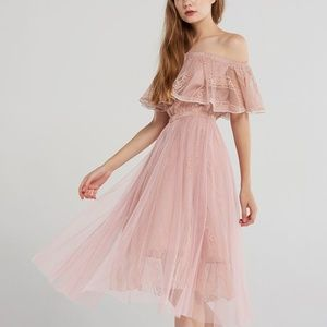 NWT STORETS pink tulle off the shoulder dress